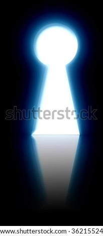 key hole on a dark blue background - stock photo