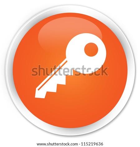Key icon orange button - stock photo