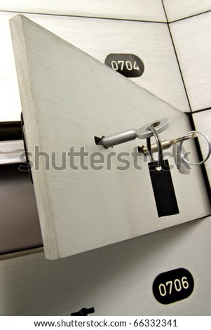 key in a deposit safe - stock photo