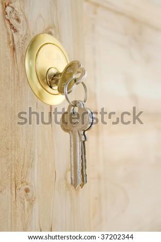Key in open door - stock photo
