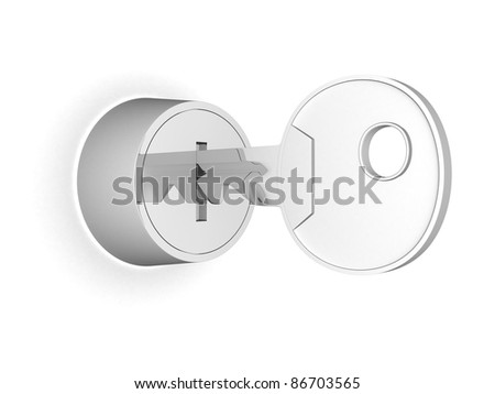 key in the keyhole on a white background - 3d illustration - stock photo