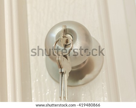 Key insert for unlock in stainless steel round ball door knob, architecture by Locksmith - stock photo