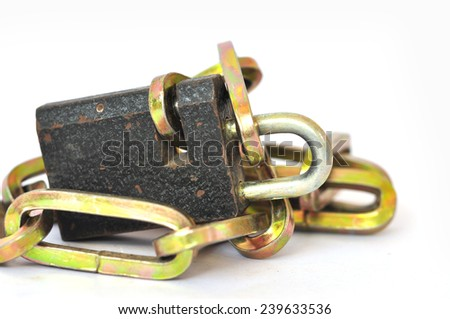 Key lock locked with a chain, - stock photo