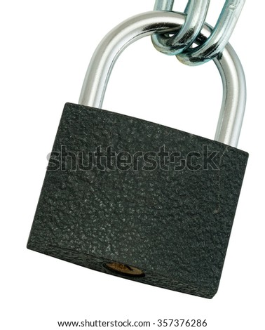 Key lock locked with a chain isolated on white - stock photo