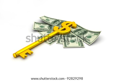Key made up of dollar sign - stock photo