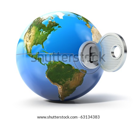 Key of the world (3d render) - stock photo