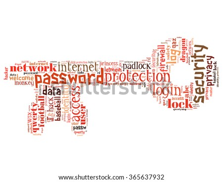 Key password, word cloud concept on white background.