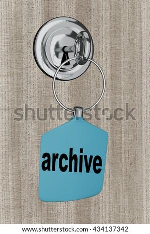 Key pendant is in the door lock, 3d-illustration - stock photo