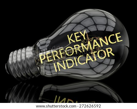 Key Performance Indicator - lightbulb on black background with text in it. 3d render illustration. - stock photo