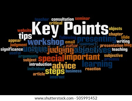 Key Points, word cloud concept on black background.