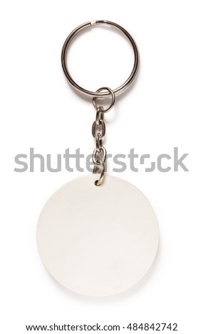Key ring with round trinket on white background