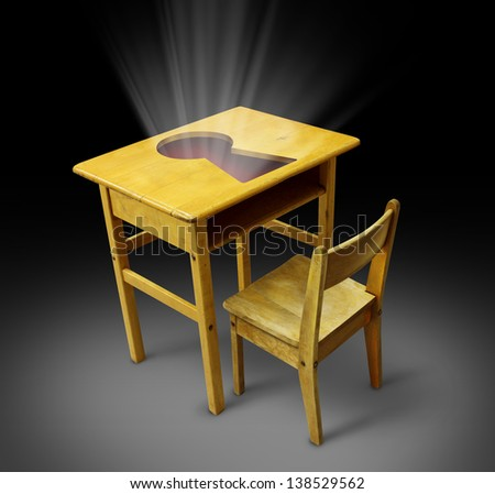 Key to education concept with an old school desk and student chair with a key hole on the table as a symbol of career opportunity through the power of knowledge and training for new business skills. - stock photo