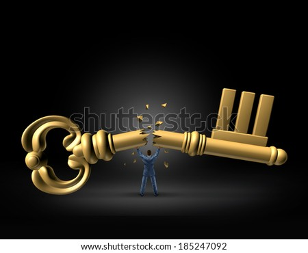 Key to leadership business concept as a strong businessman breaking the financial icon in half as a metaphor for powerful management changes  in strategy for a new direction in success and freedom. - stock photo
