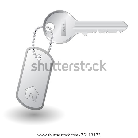 Key to own home, isolated on white background - stock photo