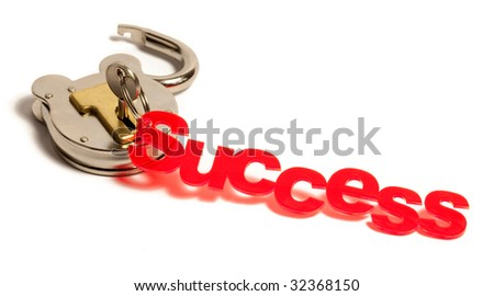 Key to success in lock - stock photo