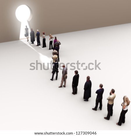 Key to success, line of people moving to the light - stock photo