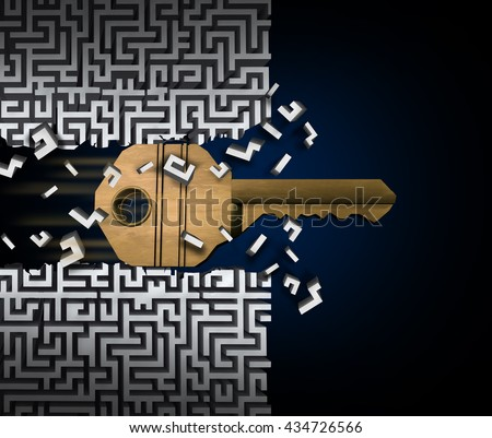 Key to success or jailbreak and jailbreaking concept and crack the code symbol as a keyhole object breaking through a maze puzzle as a finding a path access business idea as a 3D illustration. - stock photo