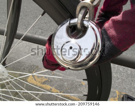 Key to the Anti-theft for Bicycle - stock photo
