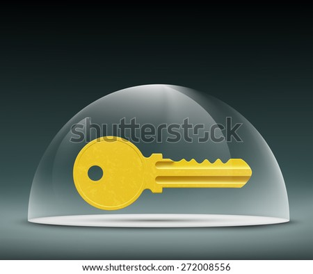 key to the lock under a glass dome - stock photo