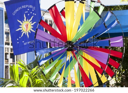 Key West city also known as Conch Republic in all it's colors (Florida). - stock photo