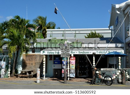 KEY WEST, FL-NOVEMBER 8:  Key West Bait and Tackle Shop, located in Old Town Key West, Florida, on November 8, 2016, sells fishing equipment and live bait to local anglers.