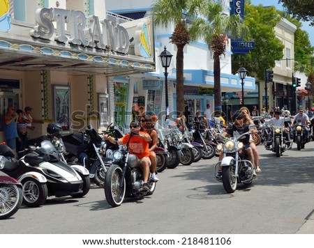KEY WEST, FL-SEPTEMBER 20:  Thousands of bikers from around the country arrive in Key West for the annual motorcycle Poker Run on September 20, 2014.  The run starts in Miami and ends in Key West. - stock photo