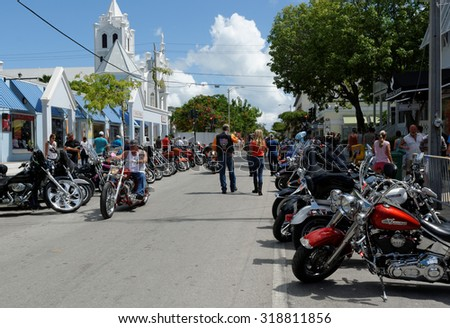 KEY WEST, FL-SEPTEMBER 19: Thousands of bikers from around the country arrive in Key West for the annual motorcycle Poker Run on September 19, 2015. The run starts in Miami and ends in Key West. - stock photo
