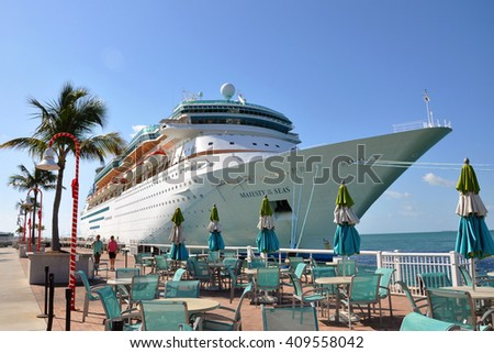 KEY WEST, FL, USA - DEC 20: Majesty of the Seas docked on December 20th, 2012 in Key West, Florida, USA. - stock photo