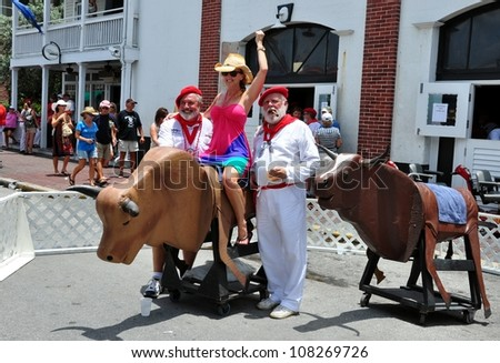 KEY WEST, FLORIDA-JULY 21:  Hemingway Days Festival in Key West, Fl. on July 21, 2012.  This is a annual, week long event, that includes a Hemingway Look-A-Like Contest Held At Sloppy Joe's Bar.