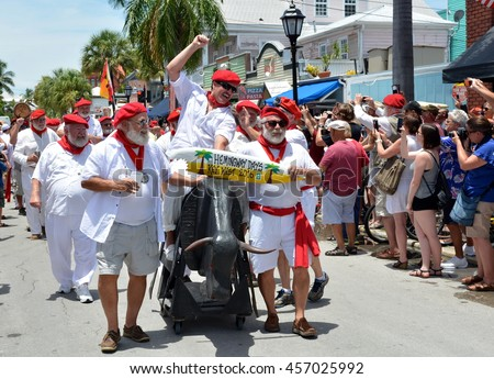 KEY WEST, FLORIDA-JULY 23: Hemingway Days Festival In Key West, Fl. on July 23, 2016. This is an annual event that features the running of the bulls with the Hemingway look-a-like contestants.