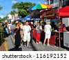 KEY WEST, FLORIDA - OCTOBER 20: Goombay Festival in Bahama Village on October 20, 2012 in Key West, Fl. This annual event featuring Bahamian food and culture, and marks the start of Fantasy Festival. - stock photo