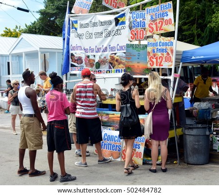 KEY WEST, FLORIDA - OCTOBER 22: Goombay Festival in Bahama Village on October 22, 2016 in Key West, Fl. This annual event features Bahamian food and culture, and marks the start of Fantasy Festival.