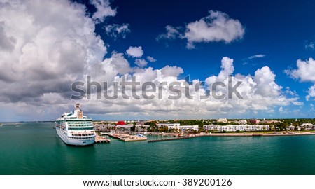 "KEY WEST, FLORIDA - 14 OCTOBER 2009: ""Grandeur of the Seas"" cruise ship was docked in the port of Key West, Florida. USA - stock photo"
