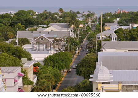 key west florida us highway 1 overhead view - stock photo