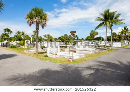 KEY WEST, FLORIDA USA - JUNE 26, 2014: The Key West Cemetery in the Historic District was founded in 1847.