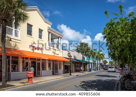 Key West, USA - April 14th 2014 - The small town of Key West in a nice blue sky day, southern Florida, United States of America.