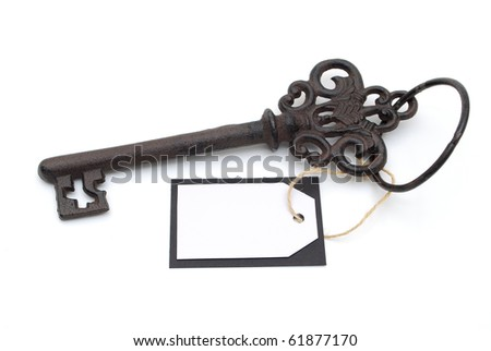 key with blank card - stock photo