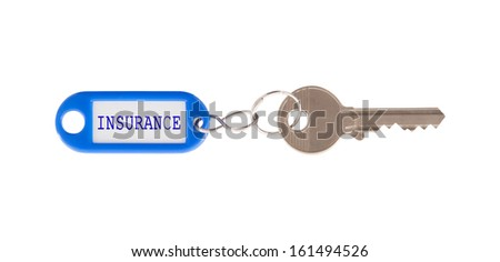 Key with blank label isolated on white background, insurance - stock photo