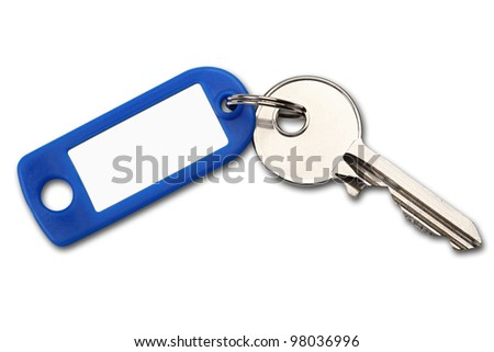 key with blue label on white background - stock photo