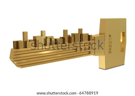 Key with buildings isolated on white background - stock photo