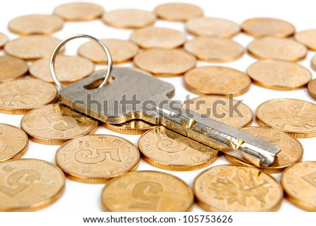 Key with coin - stock photo
