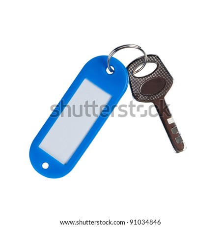 Key with empty thumb. Copy space for text, isolated on white background.