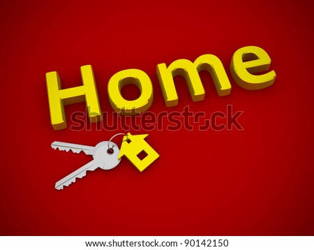 Key with home. This is 3d render illustration - stock photo