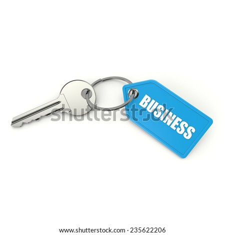 Key with light blue business shield on white background - stock photo