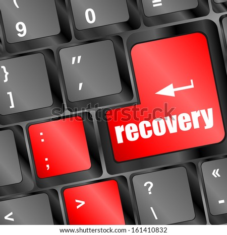 key with recovery text on laptop keyboard button, raster