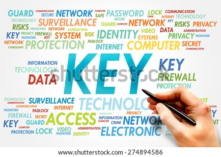 KEY word cloud, security concept - stock photo