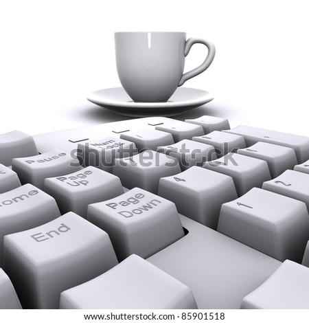 keyboard, an empty cup - stock photo