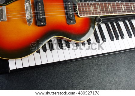 Keyboard and electric guitar