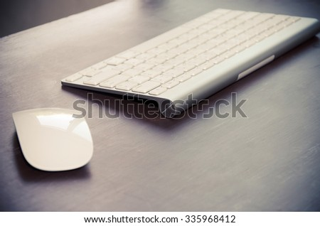 keyboard and mouse on the table.