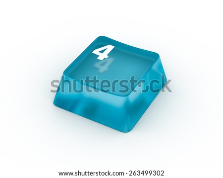 Keyboard button with number FOUR - stock photo
